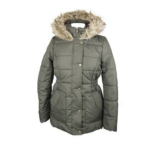 Krush Olive Faux-Fur-Trim Hooded Puffer Coat M